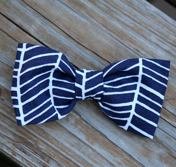 Navy Herringbone Bow tie - clip on, mens clip on, pre-tied with strap, or self tying