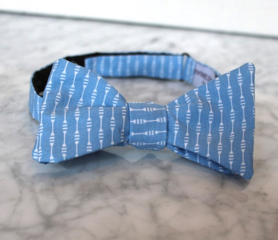 Bow Tie in Blue Beaded Stripe - Groomsmen and wedding tie - clip on, pre-tied with strap or self tying