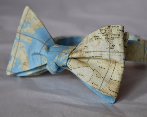 World Map Bow Tie in Blue and Cream  - Groomsmen and wedding tie - clip on, pre-tied with strap or self tying
