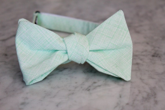 Soft Mint Green Crosshatch Plaid Bow Tie - Groomsmen and wedding tie - clip on, pre-tied with strap or self tying