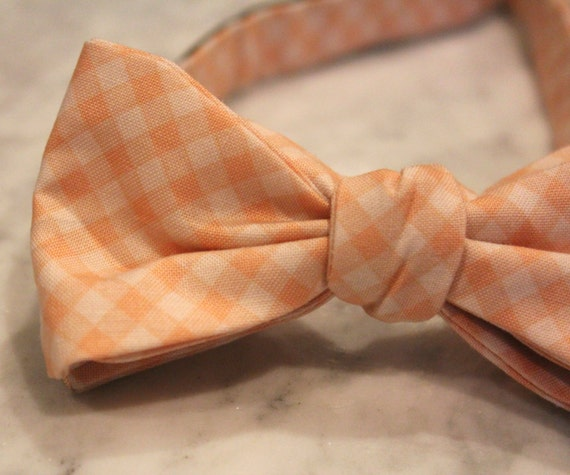 Bowtie in Peach Gingham - Groomsmen and wedding tie - clip on, pre-tied with strap or self tying