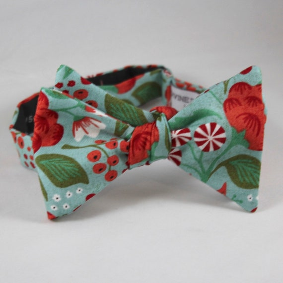 Peppermint Floral Holiday Bow Tie - clip on, pre-tied adjustable strap or self tying