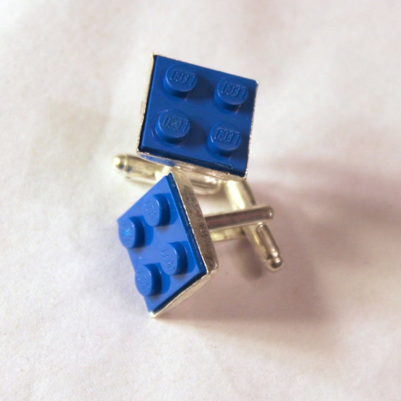Blue Lego Cuff Links - Silver plated - Groomsmen gift, wedding accessories