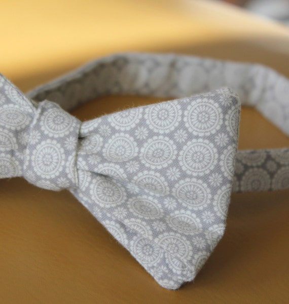 Men's Gray Medallions Bow Tie - self tying - freestyle, pre-tied adjustable strap or clip on