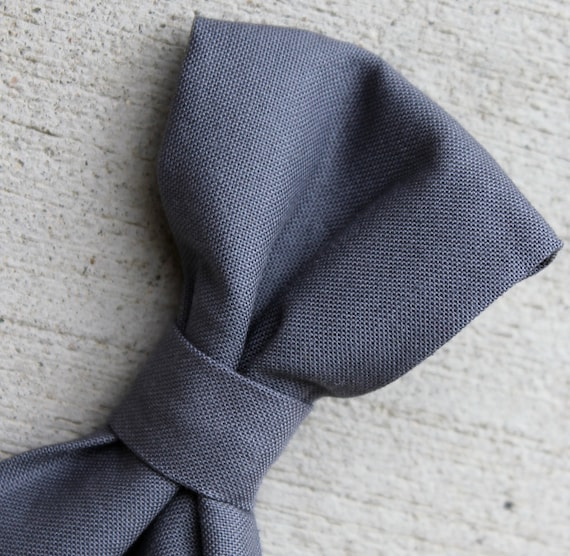 Solid Coal Gray Bow Tie - clip on