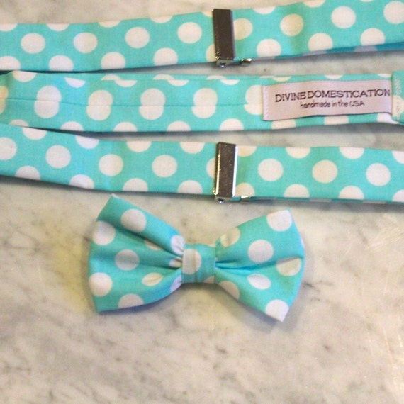Ring Bearer attire - Turquoise Polka Dot Boy's Bow Tie and matching suspenders