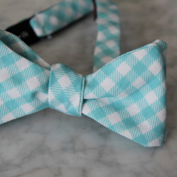 Mens Bow Tie in Turquoise Plaid- clip on, pre-tied with strap or self tying