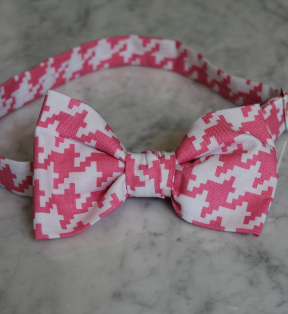 Men or Boys Raspberry Pink Houndstooth Plaid Bowtie- Groomsmen and wedding tie - clip on, pre-tied with strap or self tying