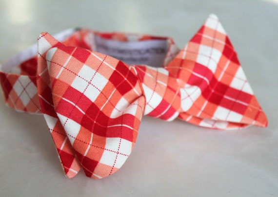 Pink and Red Plaid Bow tie - clip on, pre-tied with strap or self tie - wedding, holiday, Valentine's Day