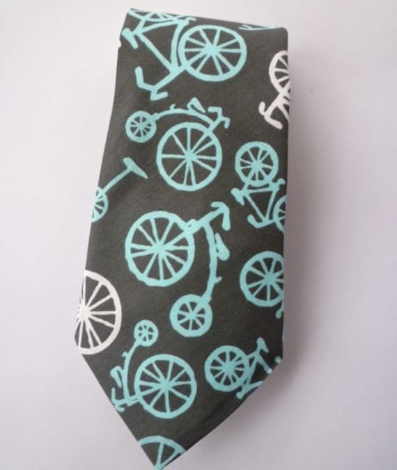 Charcoal and Turquoise Bicycle Tie - Traditional or skinny