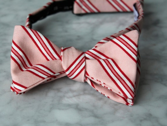 Men's Candy Cane Christmas Bow Tie in Pink and Red Stripe - Self tying, pre-tied adjustable strap or clip on - freestyle