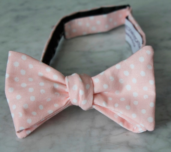 Bowtie in Peach polka dots - clip on, pre-tied with strap or self tying