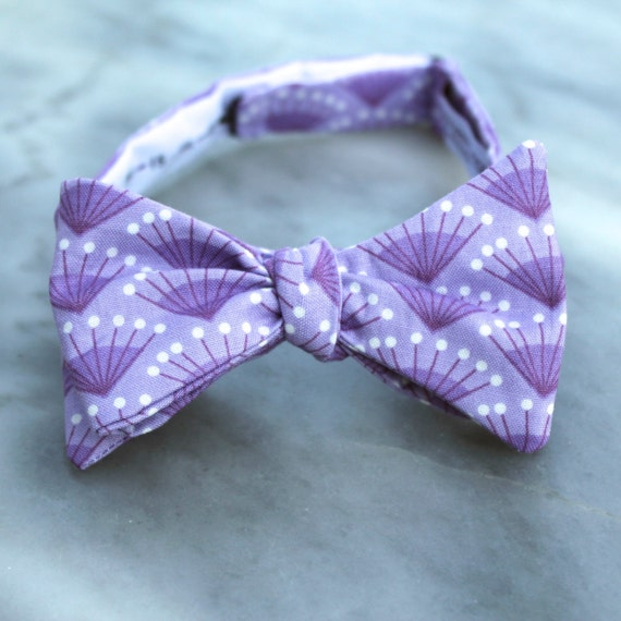 Bow Tie in Soft Purple Fans - clip on, pre-tied with strap or self tying - ring bearer outfit or groomsmen attire