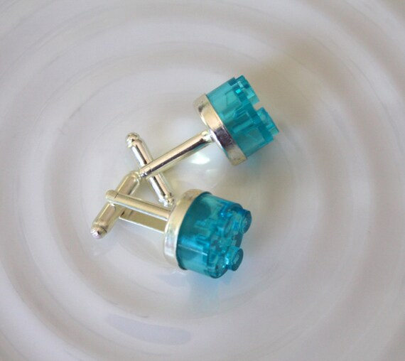 Round Turquoise Lego Cuff Links - Silver plated - Groomsmen gift, Birthday gift - Geeky Accessory