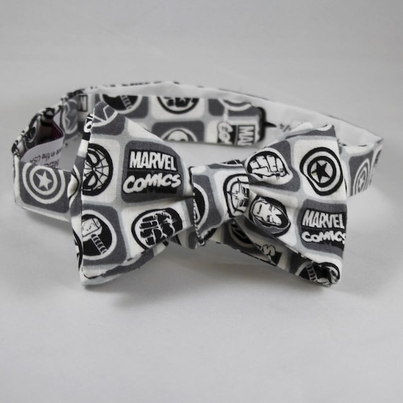 Marvel Comics Avengers Bow Tie in Black and White - Groomsmen and wedding tie - clip on, pre-tied with strap or self tying
