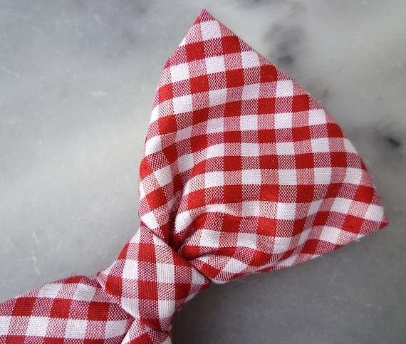Red and White Plaid Silk Bow Tie for Men - Clip on, pre-tied adjustable strap or self tying