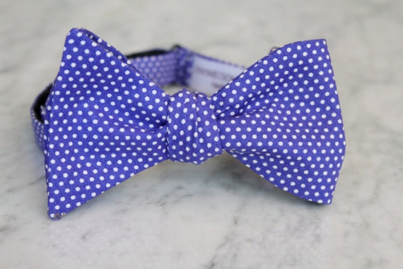 Purple Pin Dot Bowtie - clip on, pre-tied with adjustable strap or self tying