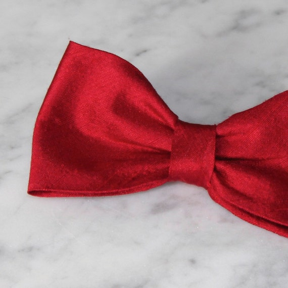 Solid Red Silk Bow Tie - Groomsmen and wedding tie - clip on, pre-tied with strap or self tying