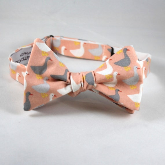 Peach Duck, Duck, Goose Bowtie - clip on, pre-tied with strap or self tying - wedding ties - groomemen gift, fathers day gift, beach wedding