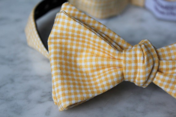 Men's Bow Tie in Yellow and White Tiny Gingham - Self tying, pre-tied adjustable strap or clip on - Groomsmen attire