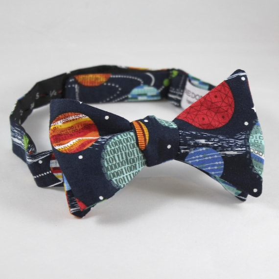 Solar System Astronomy Bow Tie in Navy Blue  - Groomsmen and wedding tie - clip on, pre-tied with strap or self tying