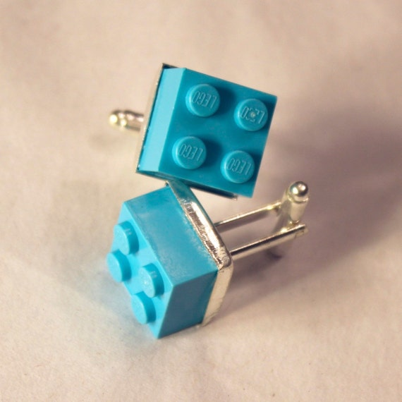 Teal Lego Brick Cuff Links - Silver plated
