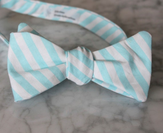 Bow Tie in Turquoise and White Stripe - clip on, pre-tied with strap or self tying