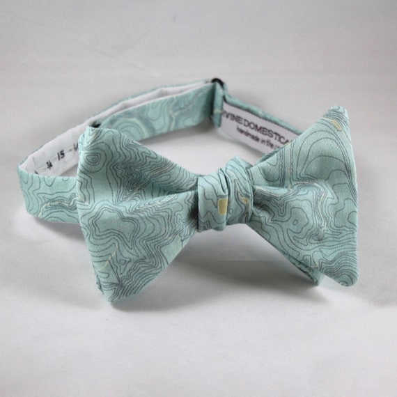 Topographical Map in Turquoise Bow Tie  - Groomsmen and wedding tie - clip on, pre-tied with strap or self tying