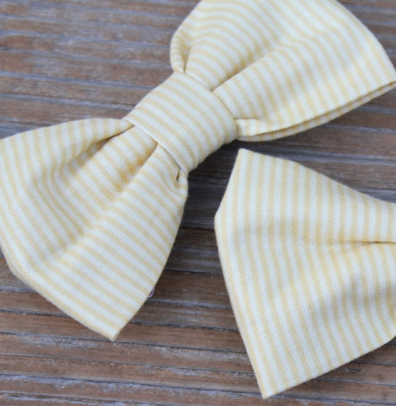 Tiny Yellow Stripe bow tie -for men or boys clip on, pre-tied with strap or self tying - ring bearer outfit, wedding ties
