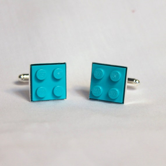 Teal Lego Plate Square Cuff Links - Silver plated