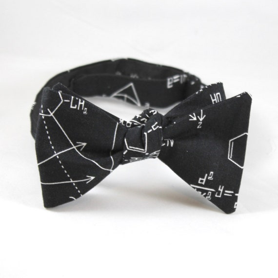 Chemestry and Math Equations Bow Tie in Black and White - Groomsmen and wedding tie - clip on, pre-tied with strap or self tying