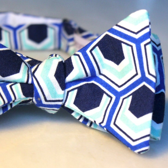 Navy, Mint, and Blue Hexagon Bow Tie - Self tying - freestyle - Groomsmen gift and ring bearer outfit
