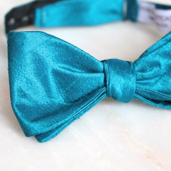Deep Teal Blue Silk Bow Tie - Groomsmen and wedding tie - clip on, pre-tied with strap or self tying