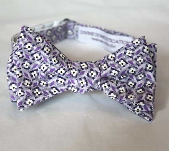 Winter Purple Vintage Floral Bow tie - clip on, pre-tied wtih strap or self tying - ring bearer outfit or wedding attire