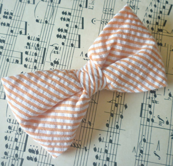 Orange Seersucker Bow Tie - clip on, pre-tied strap or self tying for men and boys