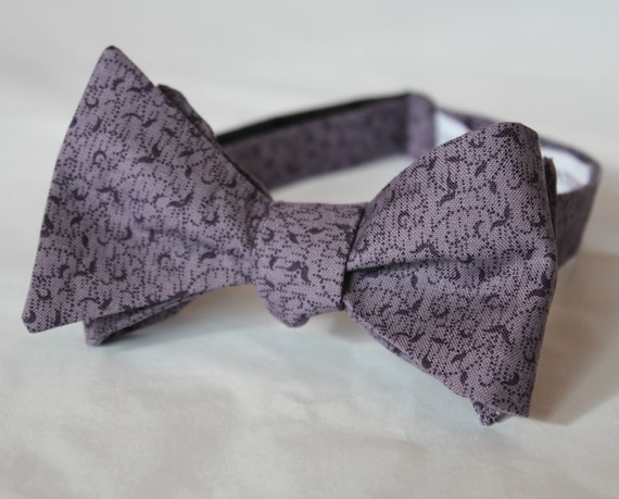 Dark Lavender Purple Vines Bowtie - clip on, pre-tied wtih strap or self tying - ring bearer outfit or wedding attire