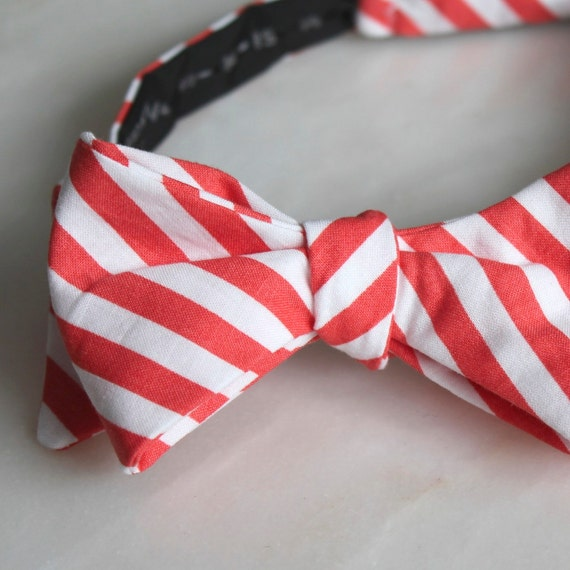Men or Boys Bright Coral Stripes Bow Tie- Groomsmen and wedding tie - clip on, pre-tied with strap or self tying