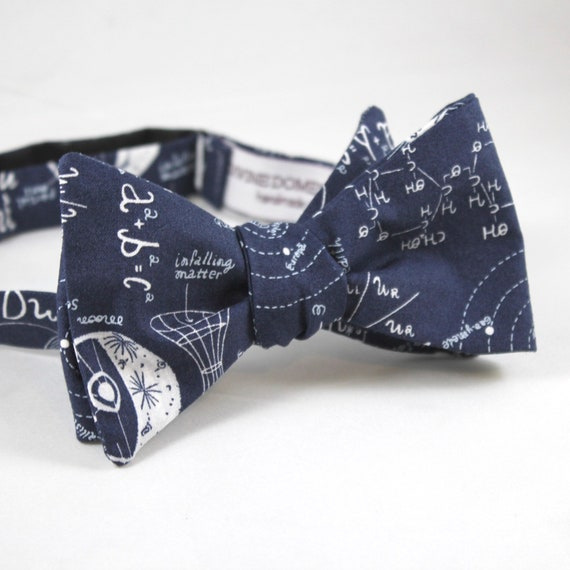 Astronomy Mathmatical Equations Bow Tie in Navy - Groomsmen and wedding tie - clip on, pre-tied with strap or self tying