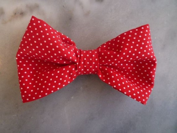 Men's Red with White Pindots Bow tie - clip on, pre-tied adjustable strap or self tying (freestyle)