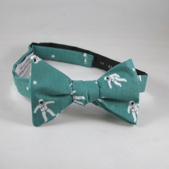 Astronaut Bow Tie in Teal  - Groomsmen and wedding tie - clip on, pre-tied with strap or self tying