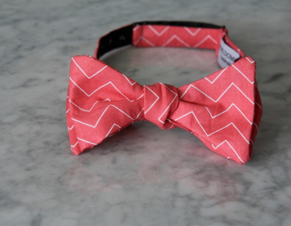 Bow Tie in Pink Coral Chevron - clip on, pre-tied with strap or self tying