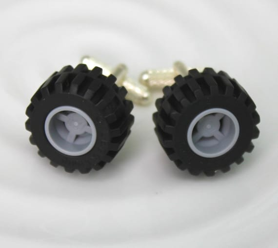 Lego Monster Tire Cufflinks - Valentine's Day Gift, Groomsmen Gift or Fun Geeky Accessory - wheel
