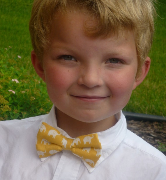 Yellow Elephant Bow tie - clip on, pre-tied with strap or self tying - freestyle - ring bearer outfit