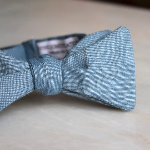 Bow Tie in Denim Blue Chambray - clip on, pre-tied adjustable strap or self tying