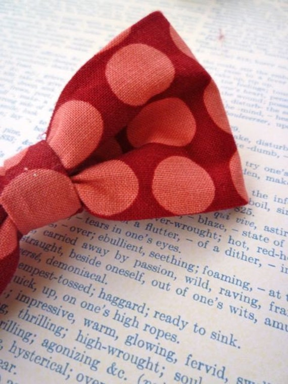 Big Pink and Red Polka Dot bow tie - clip on, pre-tied with strap and self tying