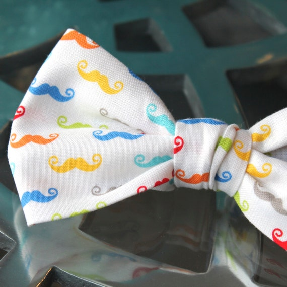 Mens Rainbow Mustache Bow Tie - Groomsmen and wedding tie - clip on, pre-tied with strap or self tying