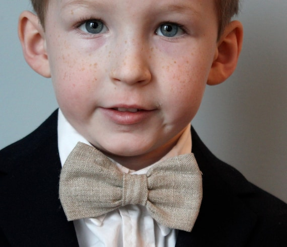 Bow Tie in Natural Linen - ring bearer attire - easter outfit