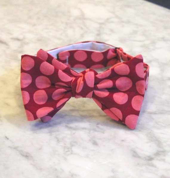 Red and Pink Sun Spots in Love Bow Tie for Men or Boys- Self tying - freestyle - Groomsmen gift and ring bearer outfit