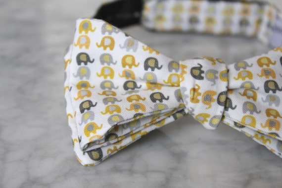 Mens bow tie in yellow and gray elephants - Groomsmen and wedding tie - clip on, pre-tied with strap or self tying