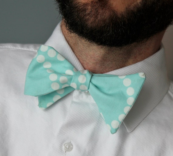 Men's Bow Tie in Turquoise Scatter Dots - Self Tying - Freestyle, pre-tied with strap or clip on